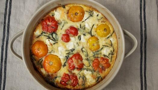 Caramelized Tomato, Zucchini, &  Goat Cheese Clafoutis