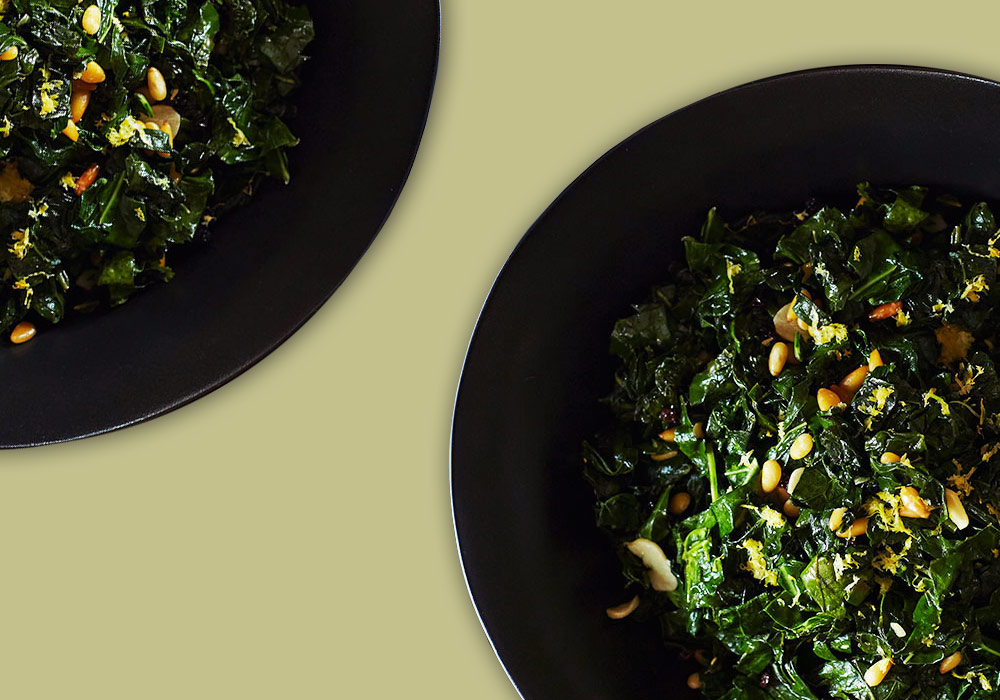 Sautéed Kale with Lemon, Garlic, Pine Nuts, & Currants