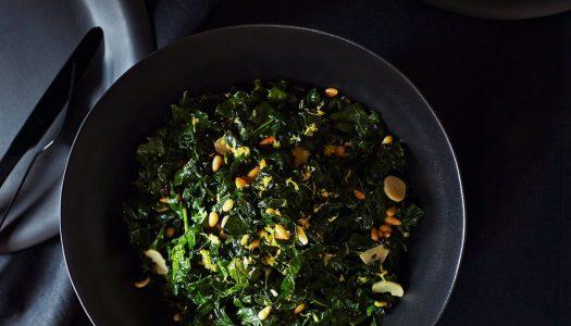 Sautéed Kale with Lemon, Garlic, Pine Nuts, & Currants
