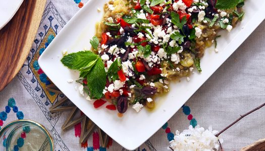 Chard Eggplant Salad With Bulgarian Cheese